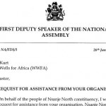 Parliament Member Requests WWFA's Help